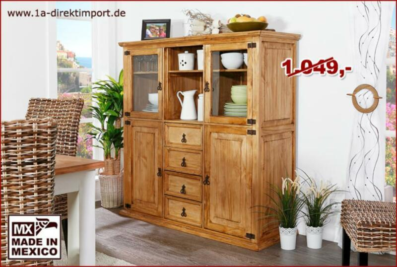 mexico highboard sideboard schrank pinie mexikanische. Black Bedroom Furniture Sets. Home Design Ideas