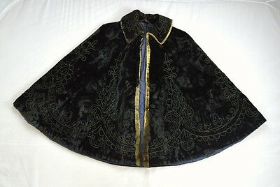 Antique 1800's Victorian Black Velvet Fur Embroidered Beaded Cape Coat Jacket M