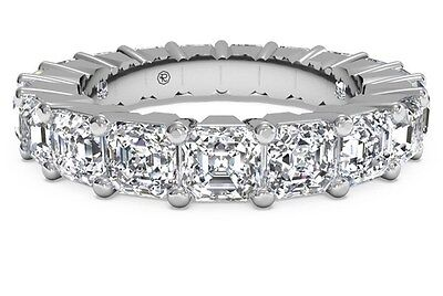 Real 14K Solid White gold 5.00ct Asscher cut Eternity Diamond Wedding Band