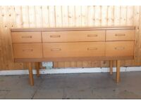 VINTAGE Long Chest Drawers Sideboard Dresser Lebus