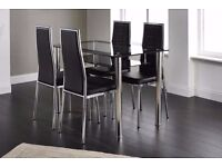 Andora Dining Set with 4 Chairs Chrome & Black Back to list