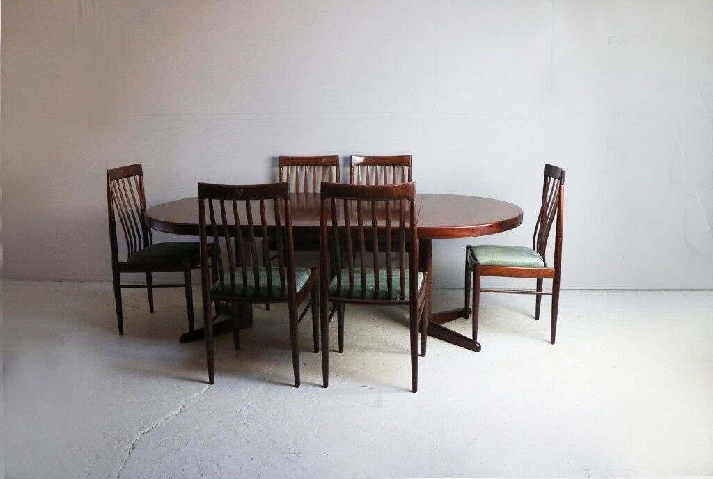Mid Century Modern Danish Dining Table And 6 Chairs By H W Klein