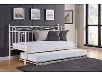 """2FT 6"""" DAY BED WITH UNDER TRUNDLE IN BUTTERMILK"""