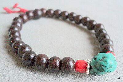 HandCarved Rosewood Mala Bracelet with Turquoise & Coral Hand-Made in Nepal