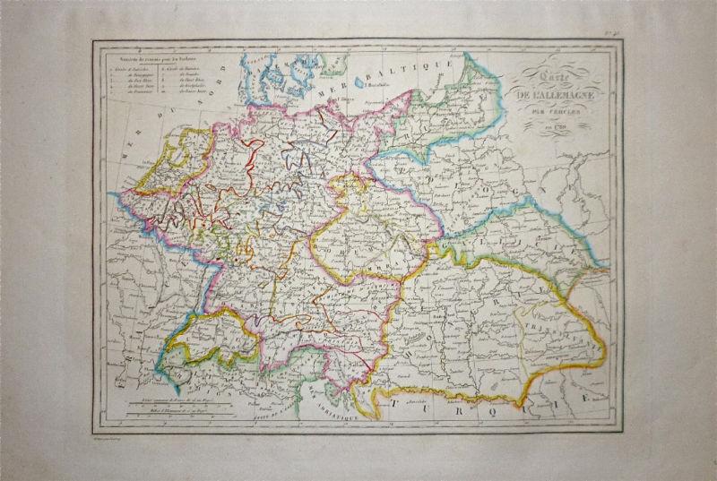 1833 Genuine Antique map Germany & Hungary. Malte-Brun