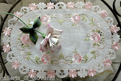 Pink Princess Rose Sheer  Lace Placemat  Doily Flower