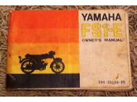 Yamaha FS1-E Owners Manual - Rare, Fair Condition