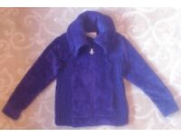 Lovely Cosy Front Zipped Purple Plush Top with Big Collar by Per Una