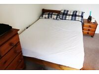 Double bed oak frame + Mattress