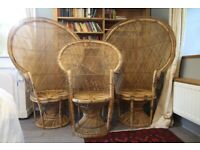 """Vintage 1970s Rare Matching Set of 3 """"Emmanuelle"""" Peacock, Rattan, Chairs"""