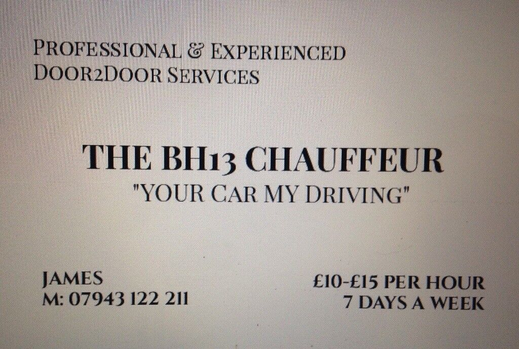 BH13 Chauffeur Available 7 days a week