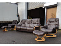 3+1+1 Ekornes stressless recliner sofas in paloma brown leather DELIVERY AVAILABLE