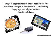 Watch, Sat Nav and Key