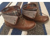 Size 4 brown boots with checked trim