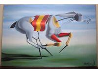 Modern Original Signed Oil Painting RACE HORSE by Irish Artist JOHN MCATAMNEY