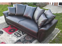 Ex-display Ascot 3 Seater Brown Leather Scatter Back Sofa.