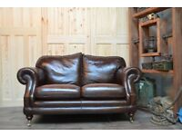 Thomas Lloyds Chesterfield Vintage Leather 2 Seater Sofa Castor Legs Brown