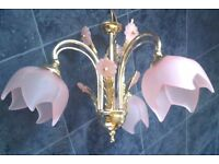 Brass 3 way Ceiling Light with 2 matching Wall Lights