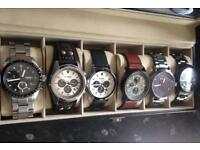 Men's fossil watch collection/in display case/bargain !!!