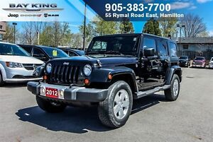 2012 Jeep WRANGLER UNLIMITED SAHARA, AUTO, SIDE STEPS, A/C, 17 W