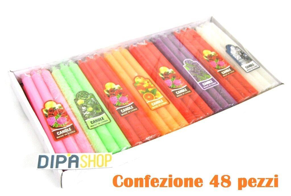Set 48 Pezzi Candele Lunghe 19cm Profumate Colorate Decorazione Aromaterapia moc