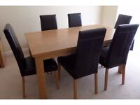 Large Solid Oak 6 Seater Dining Table & Chairs