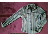 Women's ladies TM Lewin green and brown stripy shirt size 8
