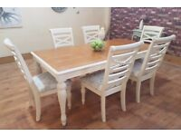 Gorgeous Shabby Chic Oak 6.5ft Extending Dining Table and 6 Chairs - Farrow and Ball Clunch No. 2009