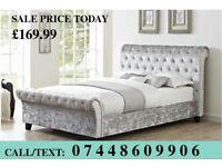🌟 SAME DAY DELIVERY CRUSHED & PLUSHED VELVET LUXURY SLEIGH BED 🌟