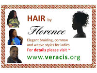 Hair: Afro braiding, cornrow & weave