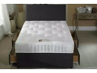 """**FREE DELIVERY** BRAND NEW Double Divan Bed Base With 10"""" Thick Ambassador Orthopaedic Mattress"""