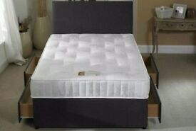 SINGLE DOUBLE AND KING ** __ DOUBLE SIZE DIVAN **__ BASE +HB+MATTRESS IN BLACK N WHITE