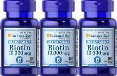 Puritans Pride Ultra Mega Biotin 10 000 Mcg 300 Sgel Skin Hair Nail   Bonus