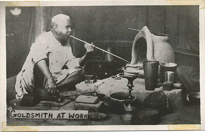 India * Goldsmith at Work in India * Smelting Gold  RARE  RPPC Real Photo PC