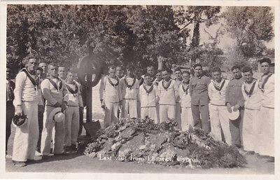 CYPRUS POSTCARD  LARNACA FUNERAL EARLY PHOTOGRAPHIC ROYAL NAVY ROYAL OAK 1928