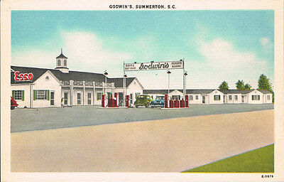 Summerton SC~Godwin Motor Court~Esso Gas Station~Linen Postcard~Roadside America