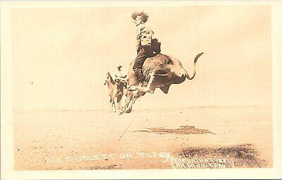 RPPC Rodeo Scene Cowboy Red Sublett Riding Topsy 1921