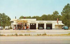 VINTAGE-4x6-GULF-GAS-OIL-SERVICE-STATION-b-w-50s-fords