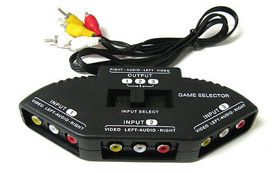 3-Way Audio Video AV RCA Black Switch Selector Box Splitter with/3 RCA Cable Consumer Electronics