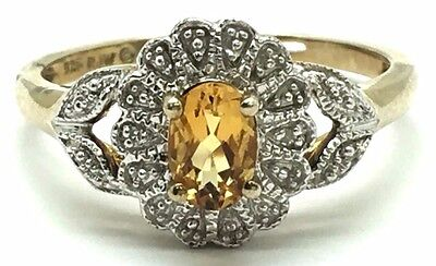 Sterling Silver 925 Gold Tone Antique Style Citrine Diamond Flower Cocktail Ring