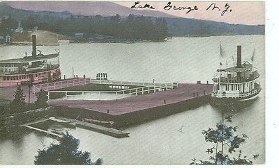 LAKE GEORGE,NEW YORK-BOAT DOCK-BOATS-PRE1920-(LKG-BOX-147*)