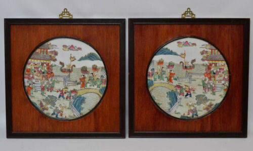 Pair of Antique 1920s Chinese Finely Painted Porcelain Panels