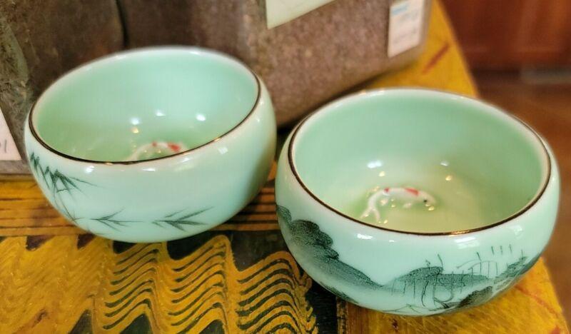 """Vintage Celadon Oriental Porcelain Sauce Bowls Koi Fish Handpainted Pair 2 1/2"""""""