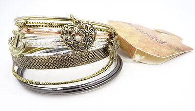 New 12 Piece Metal Bangle Bracelet Set with 3 Charms nwt #B1179 (3 Bangle Bracelet Set)