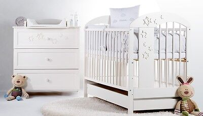 BABY NURSERY FURNITURE SET REAL WOOD WHITE COT WHIT DRAWER + CHEST DRAWERS STARS