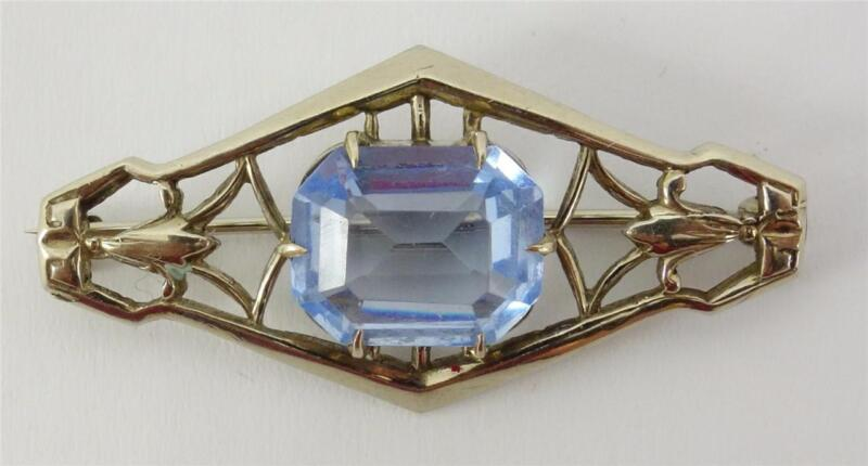 vtg 10K white gold ladies diamond-shaped filigree pin brooch +blue topaz 1.25""
