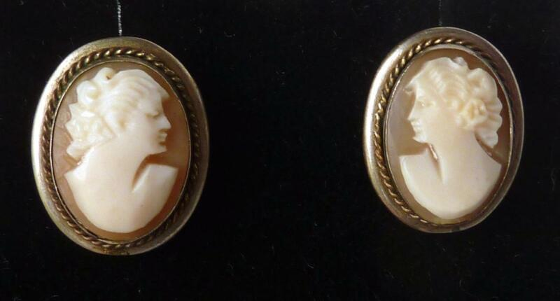 """Vintage 10k Gold Sterling Hand Carved Shell Cameo Stud Earrings Screw Posts 3/4"""""""