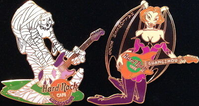 Hard Rock Cafe GUANGZHOU 2000 HALLOWEEN 2 PIN Boxed Set Mummy & Demon Girl LE750](Guangzhou Halloween)