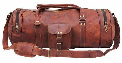 "Men Brown Vintage Genuine Leather Cowhide 22"" Travel Luggage Duffle Gym Bag"