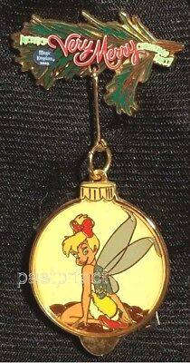 Disney LE Pin Tinkerbell Xmas Ball Very Merry 2003 Party on Card + MK 2018 Map - Tinkerbell Christmas Cards